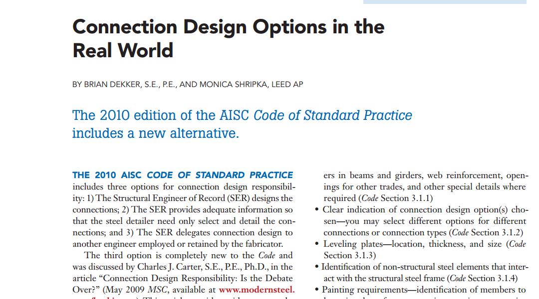 Brian Dekker Co-Publishes Paper in Modern Steel Construction